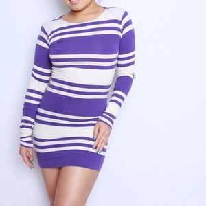 FRENCH CONNECTION Purple Striped Sweater Dress